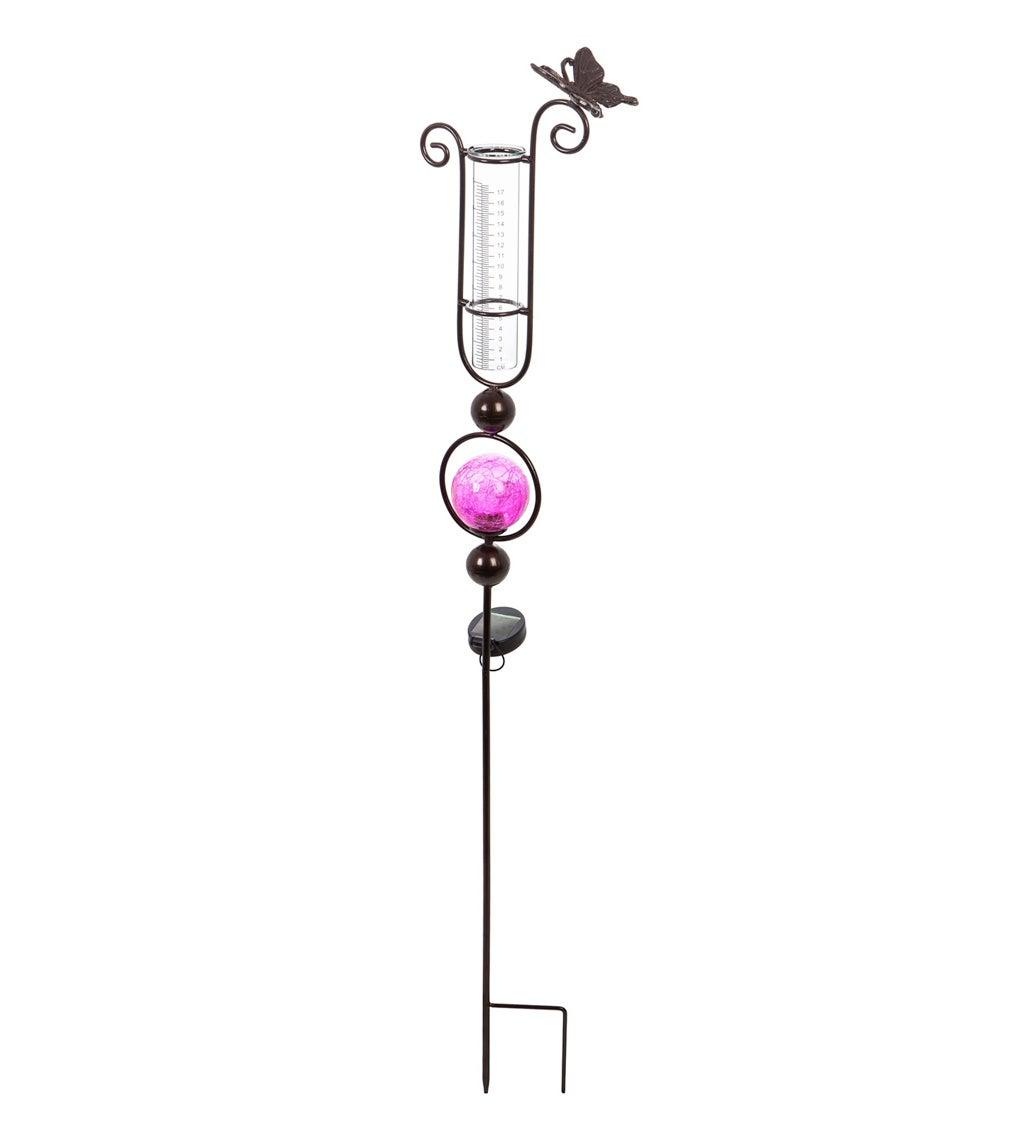 "44.5""H Pink Solar Rain Gauge Garden Stake"