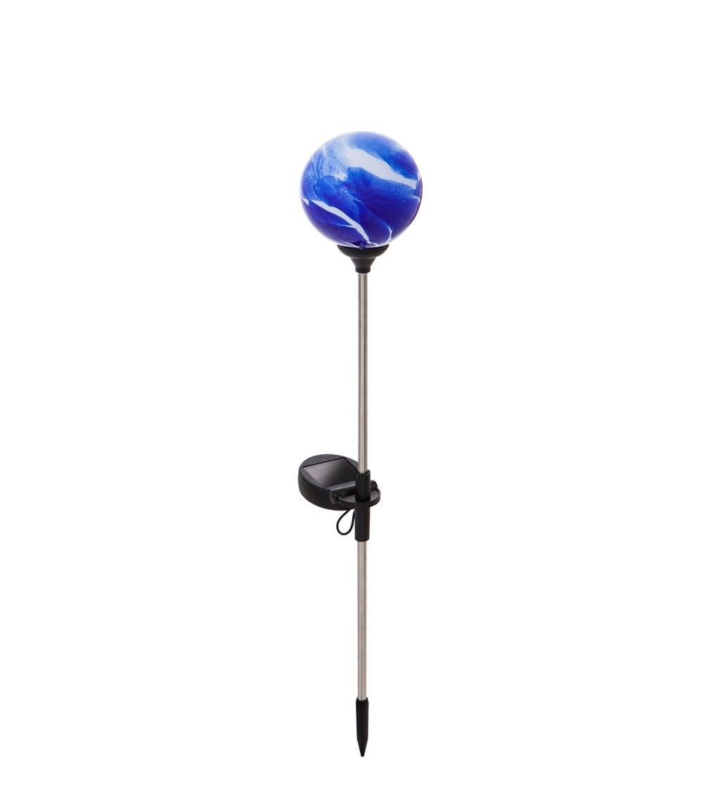"20.5""H Solar Glass Garden Stake, Art Glass Stone, Blue"