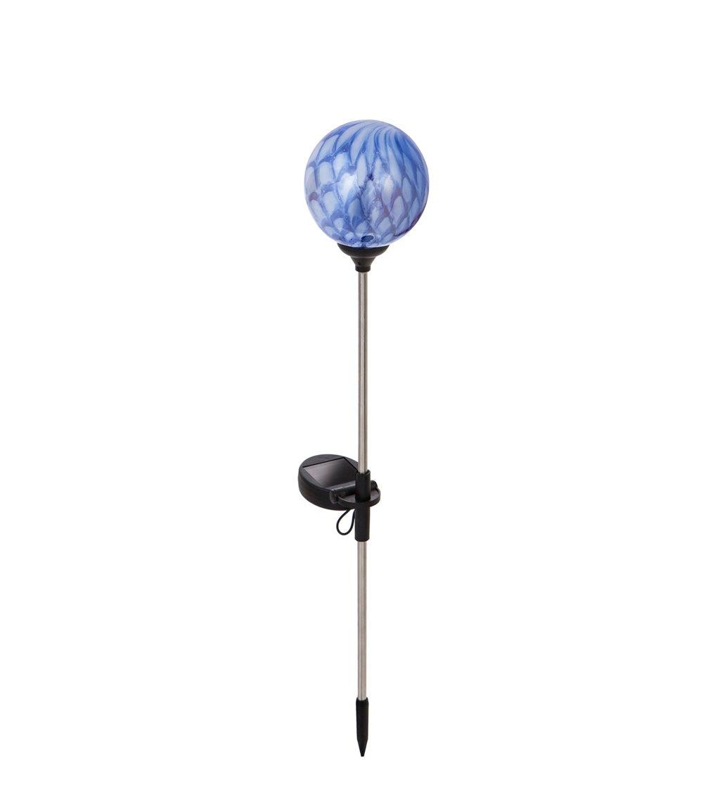"20.5""H Solar Glass Garden Stake, Art Glass Stone, Ocean Blue"