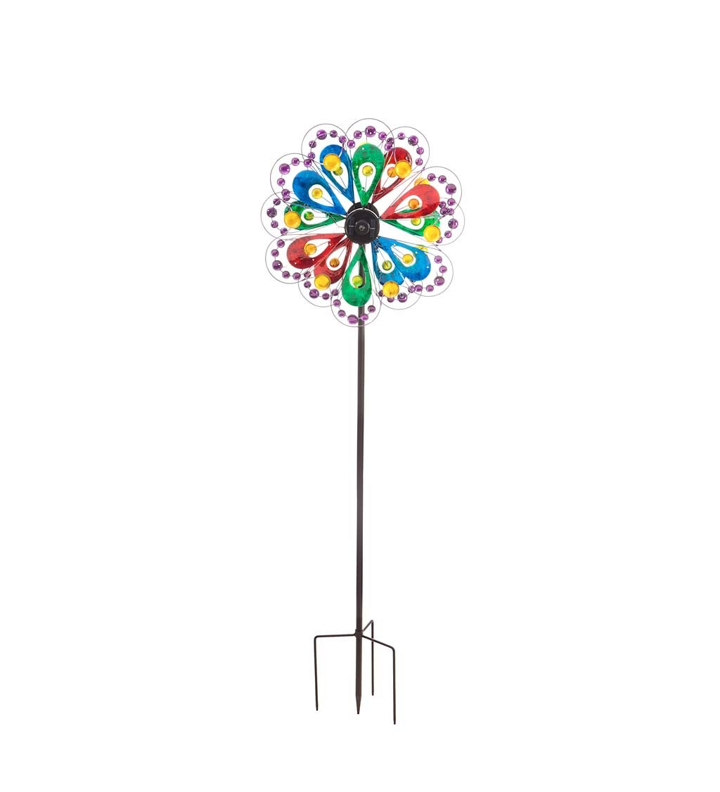 """75""""H Solar Wind Spinner, Colorful Petals with Dots"""