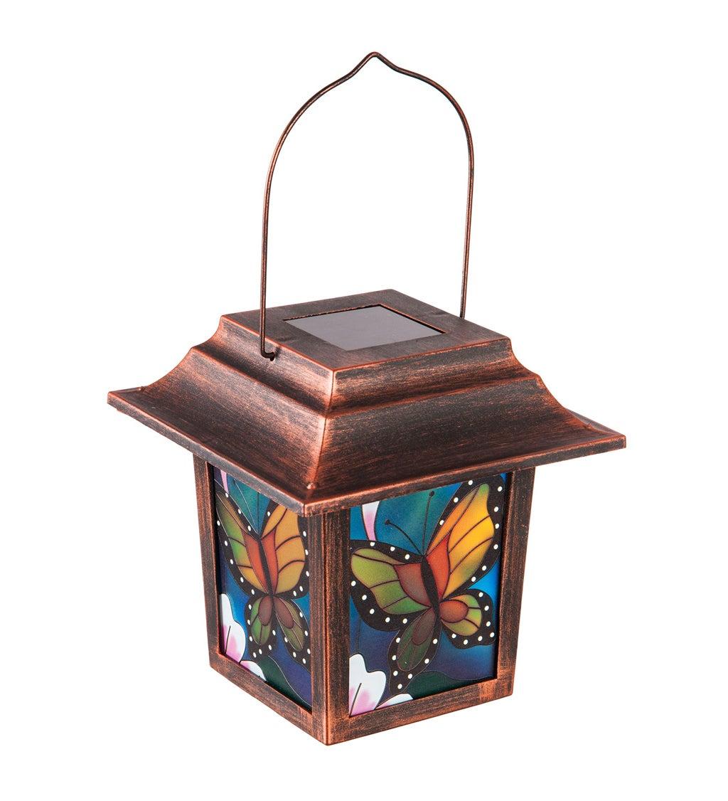 "10""H Solar Decorative Panel Lantern with Bronze Frame, Monarch"