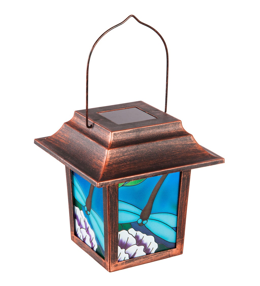 "10""H Solar Decorative Panel Lantern with Bronze Frame, Dragonfly"