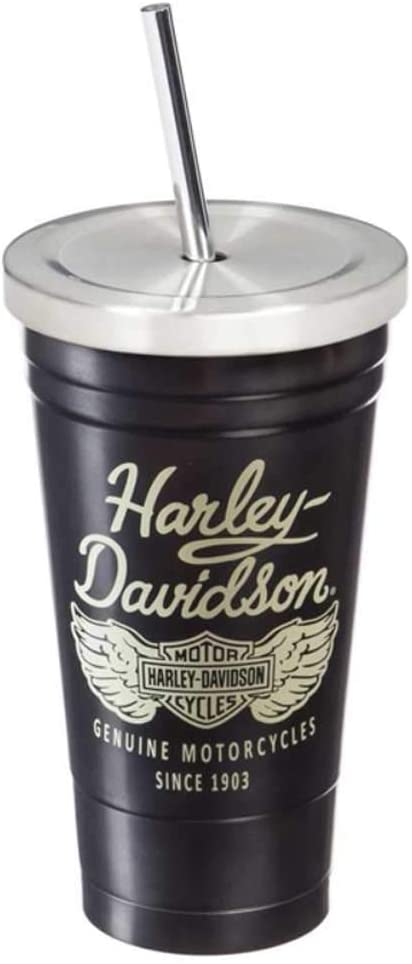 Harley Davidson Stainless Steel Insulated Cup with Straw