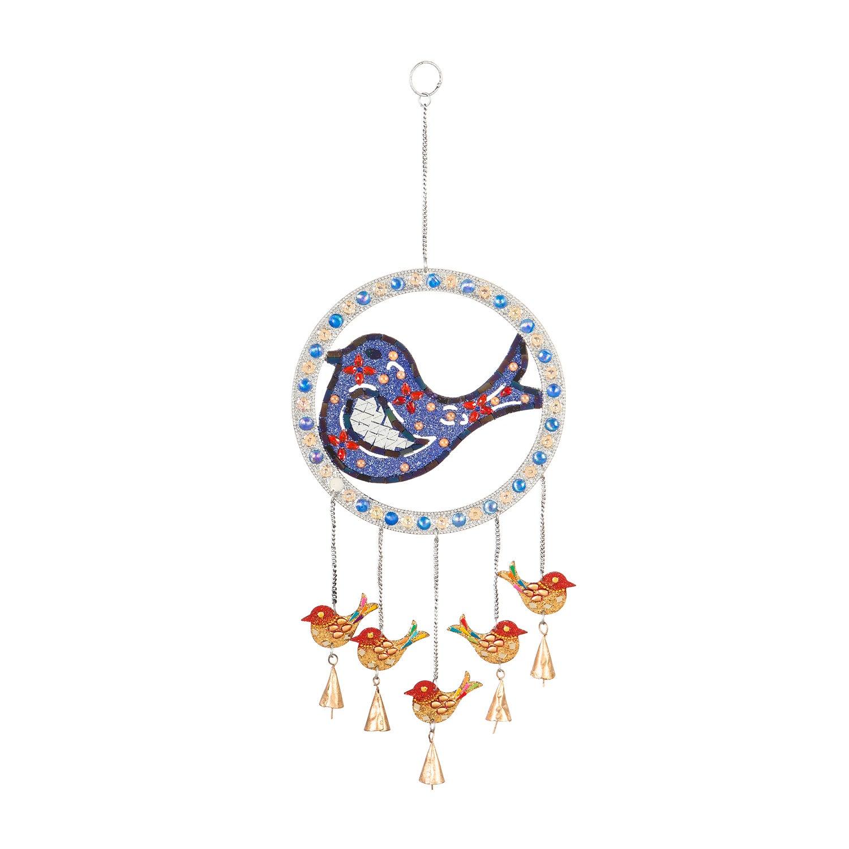 Mosaic Bird Shaped Beaded Metal Wind Bell