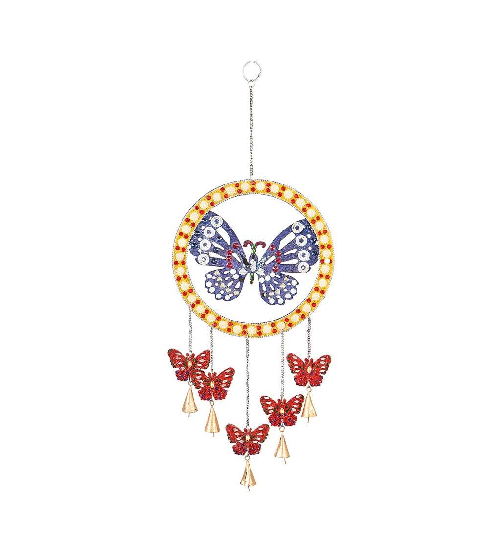 Mosaic Butterfly Beaded Metal Wind Bell