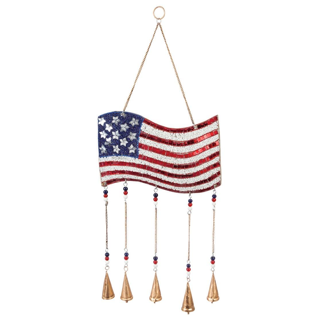 "27""W American Flag Beaded Wind Chime"