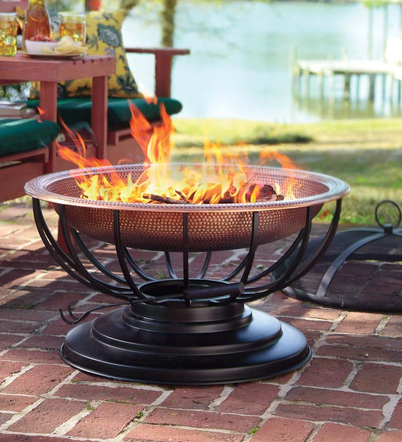 Hammered Copper Outdoor Fire Pit with Lid that Converts to a Table