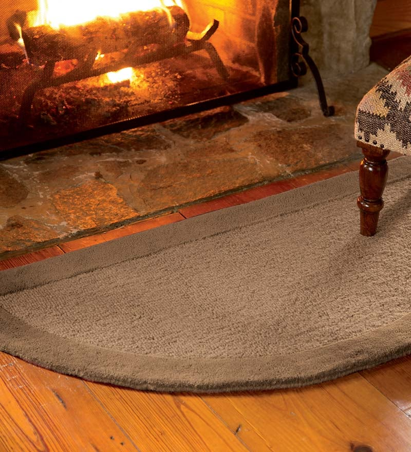 2' x 4' Madrid Banded Half-Round Hearth Rug, in Chocolate