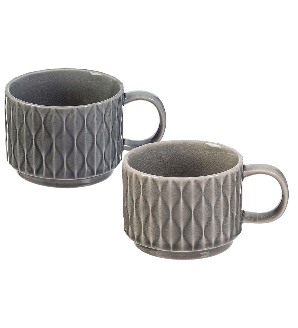 Serenity Ceramic Debossed Coffee Cups, Set of 2