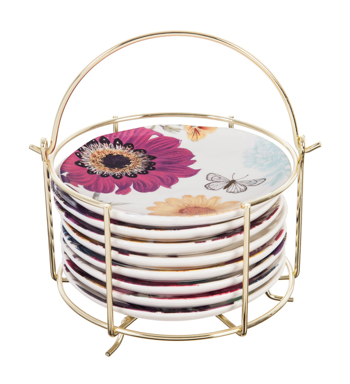 Vivid Bouquet Ceramic Appetizer Plates in Metal Caddy
