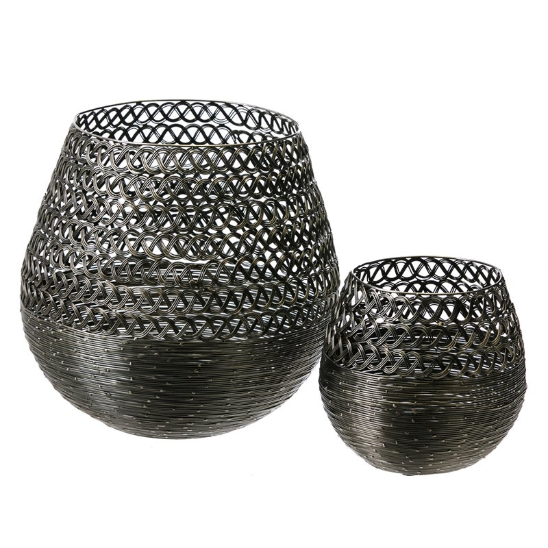 Metal Silver Baskets, Set of 2