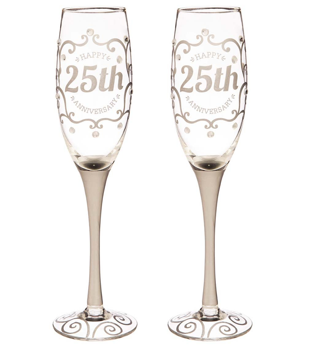 25th Anniversary Champagne Flutes, Set of 2