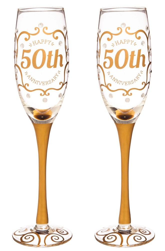 50th Anniversary Champagne Flutes, Set of 2