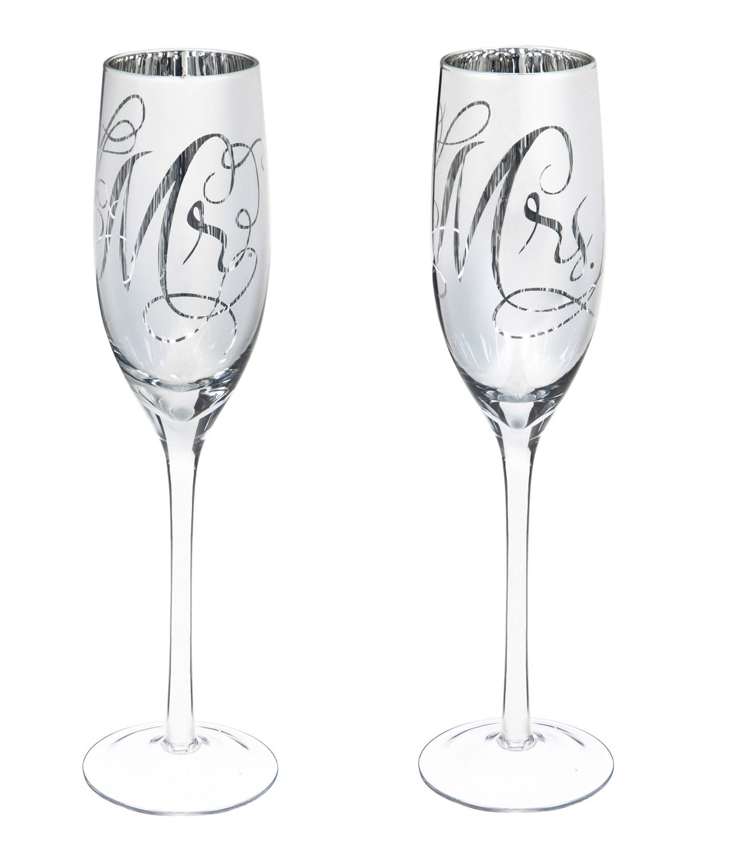 Mr.&Mrs. Silver Metallic Champagne Flutes, Set of 2
