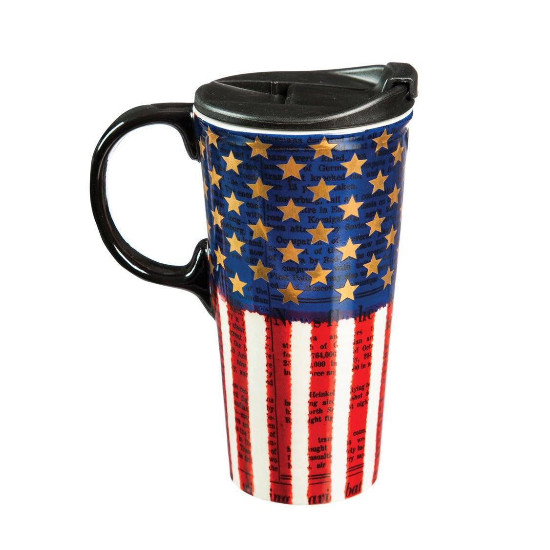 Americana Metallic Ceramic Travel Coffee Cup