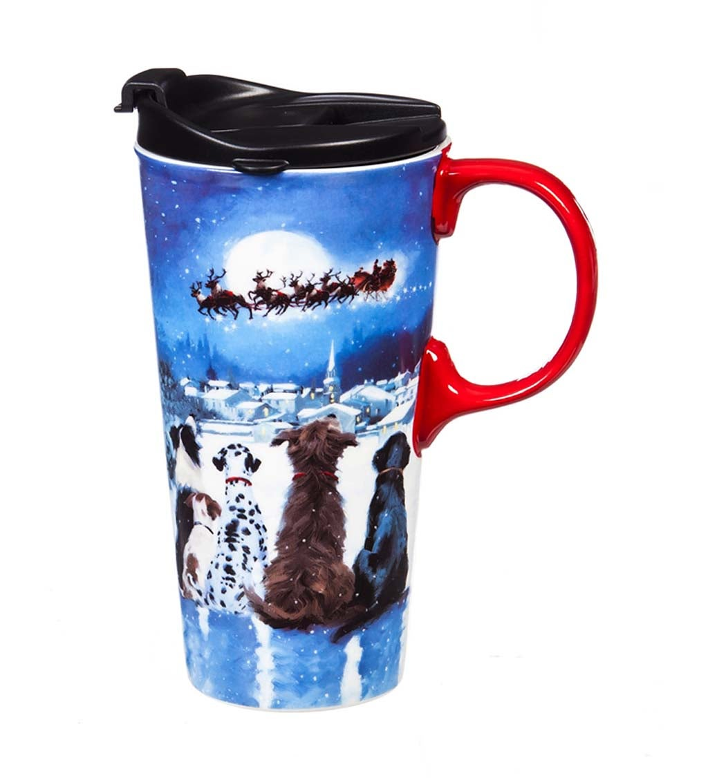 Christmas Dogs Ceramic Travel Cup