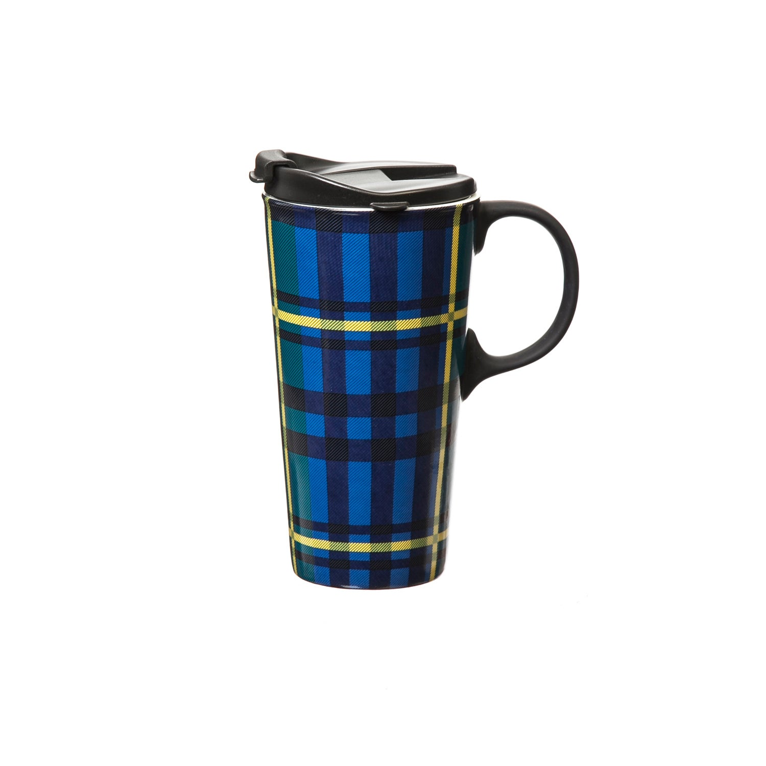 Green and Blue Plaid Travel Coffee Cup