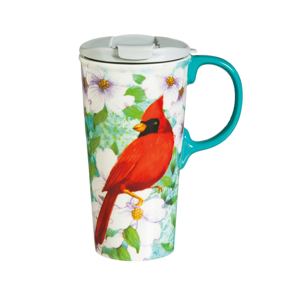 Ceramic Cardinal Trio Travel Mug