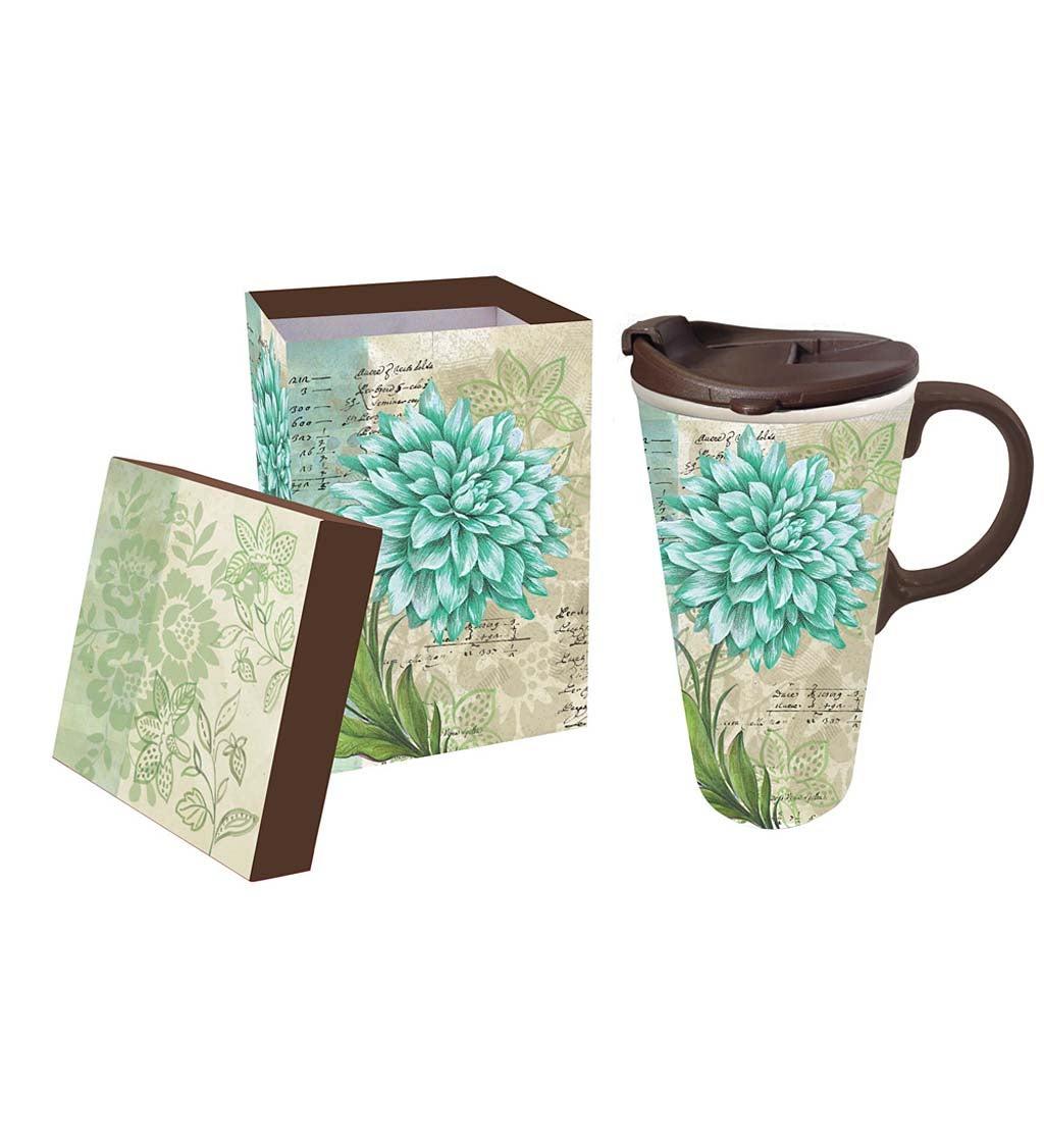 Ceramic Turquoise Dahlia Travel Mug