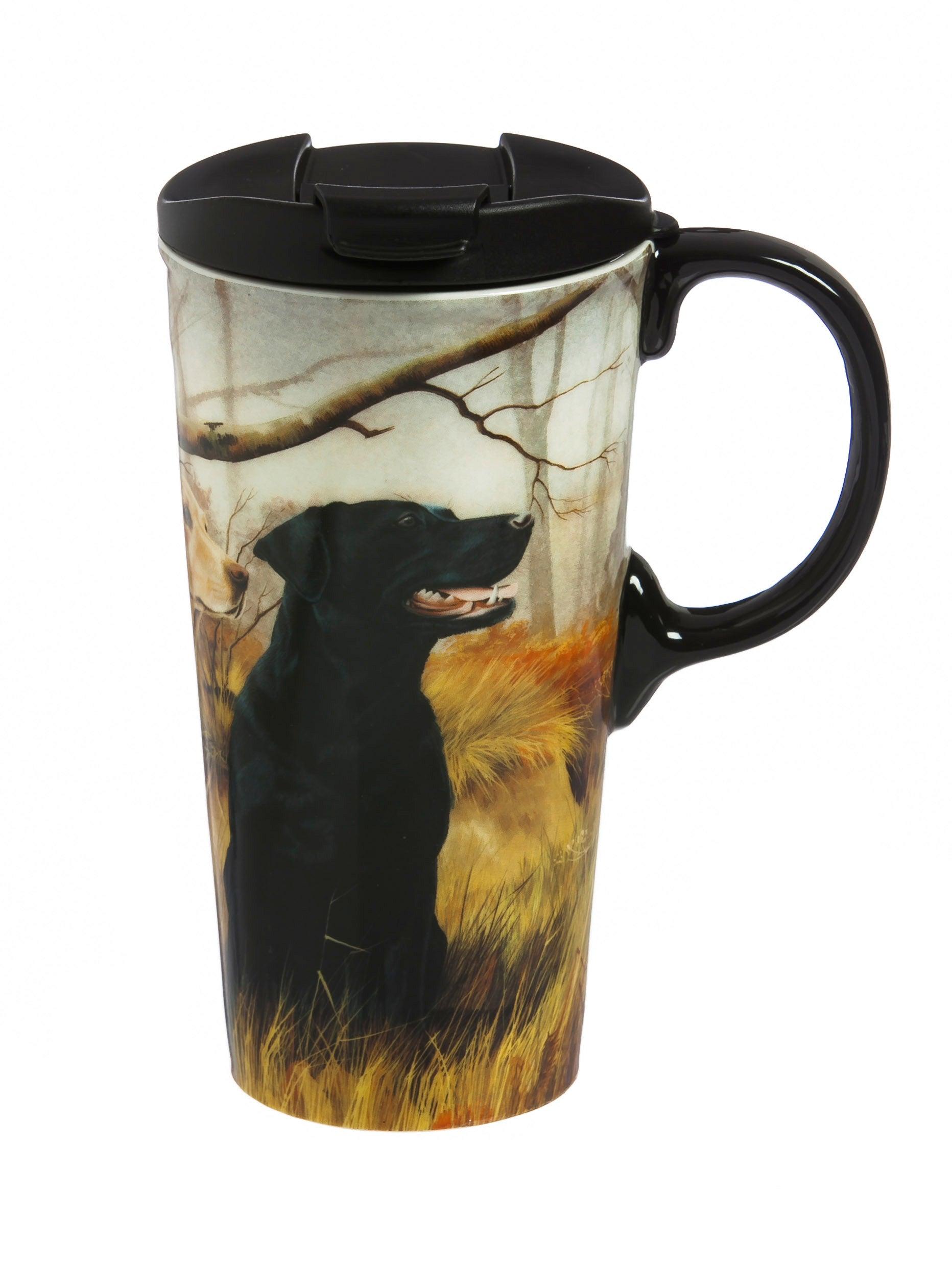Black and Yellow Labs Ceramic Travel Mug