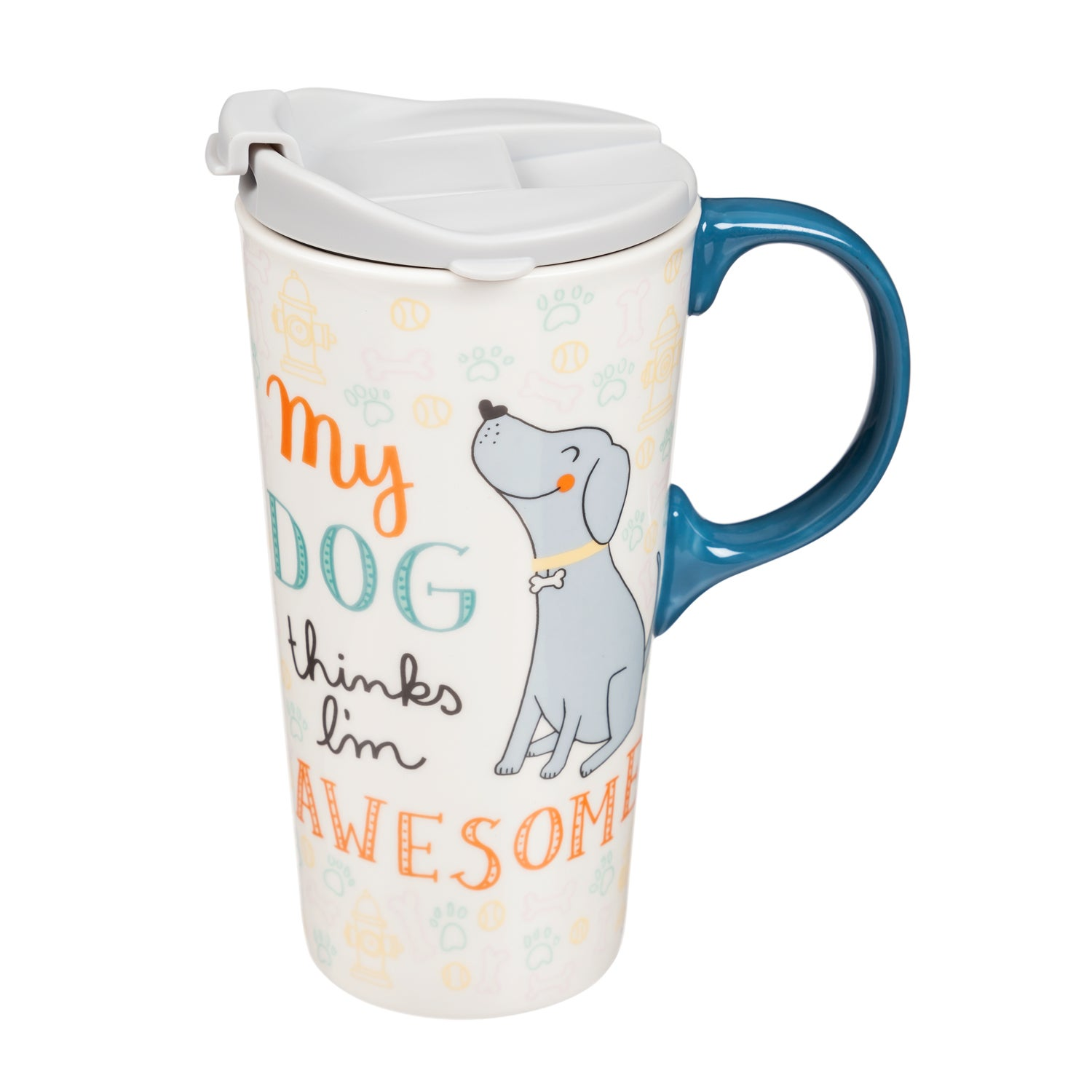 My Dog Thinks I'm Awesome Ceramic Travel Mug