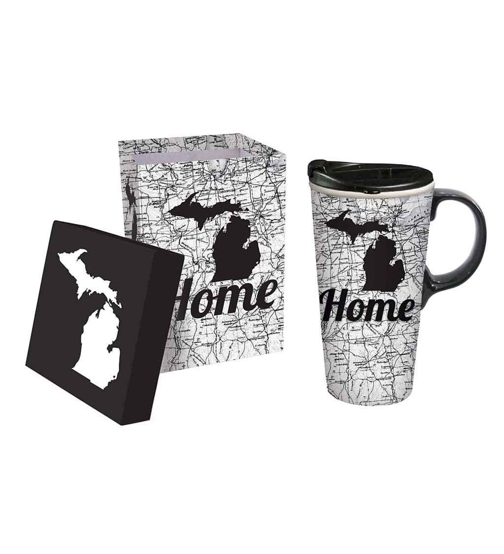 Ceramic Metallic Michigan Travel Mug