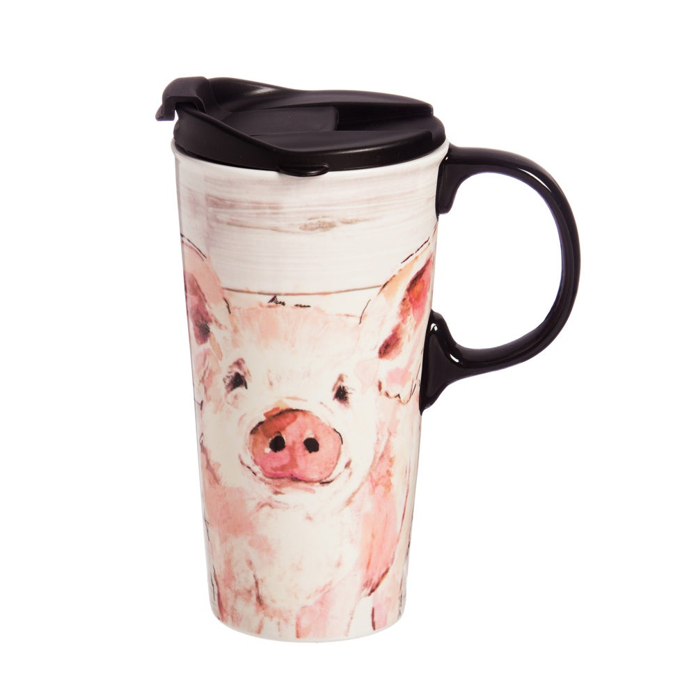 Pretty Pink Pig Ceramic Travel Coffee Mug