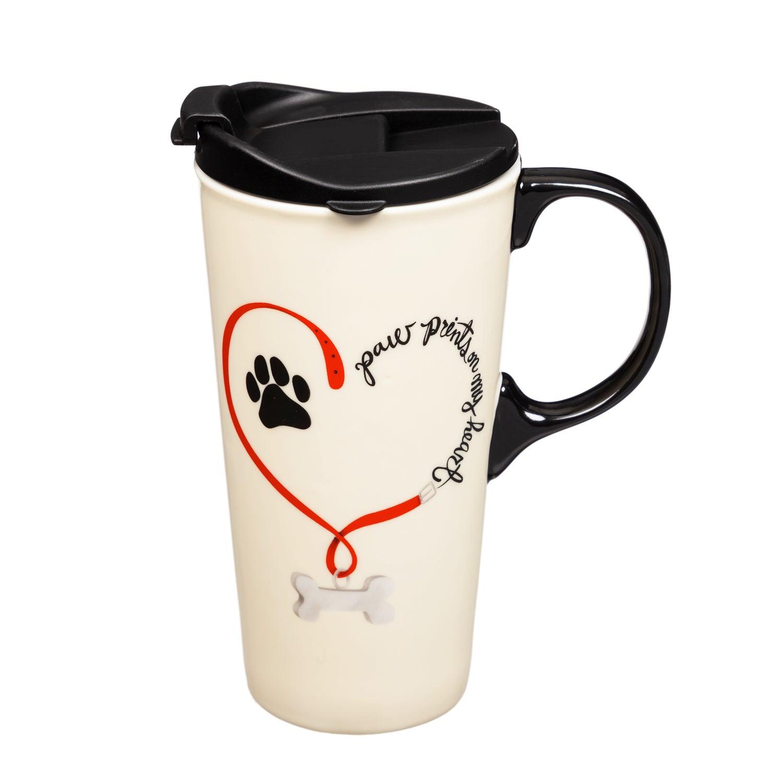 Dog Paw Prints Ceramic Travel Coffee Mug