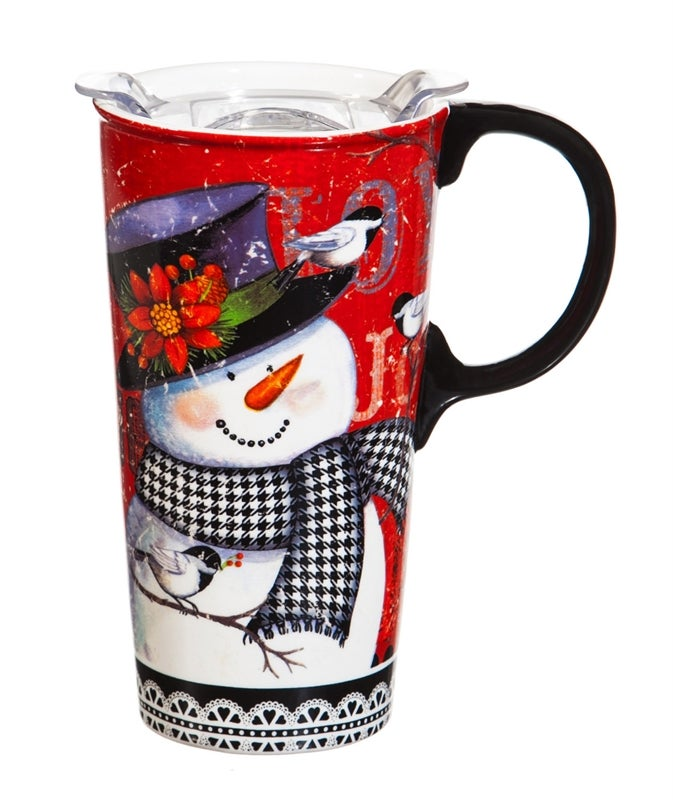 Houndstooth Snowman Ceramic Travel Coffee Mug