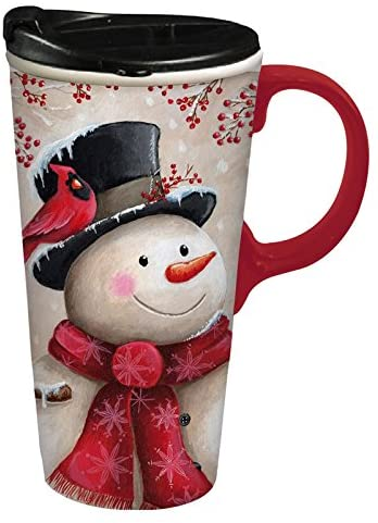 Snowman and Cardinal Ceramic Travel Cup