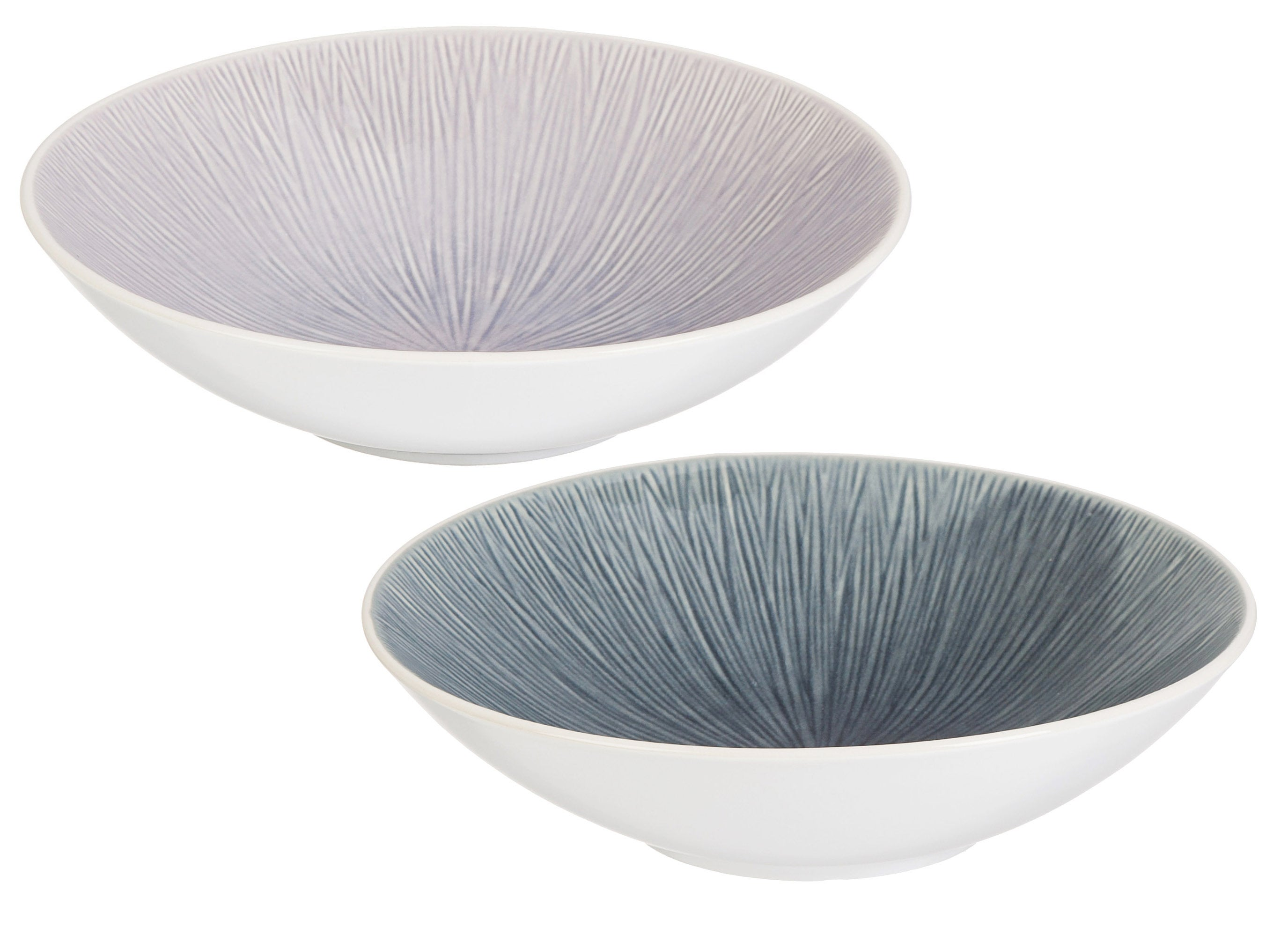 Serenity Ceramic Debossed Bowls, Set of 2