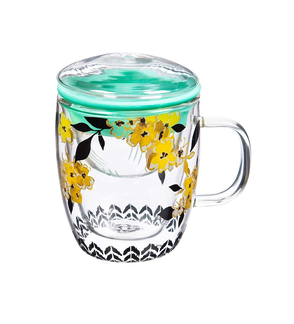 Sweet and Simple Tea Glass Café Cup with Infuser