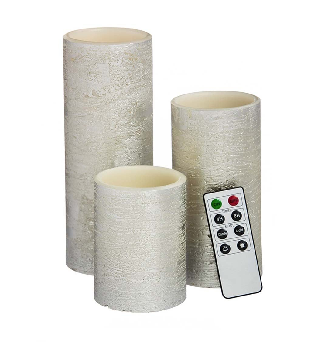 LED Silver Flameless Wax Pillar Candle With Remote, Set of 3