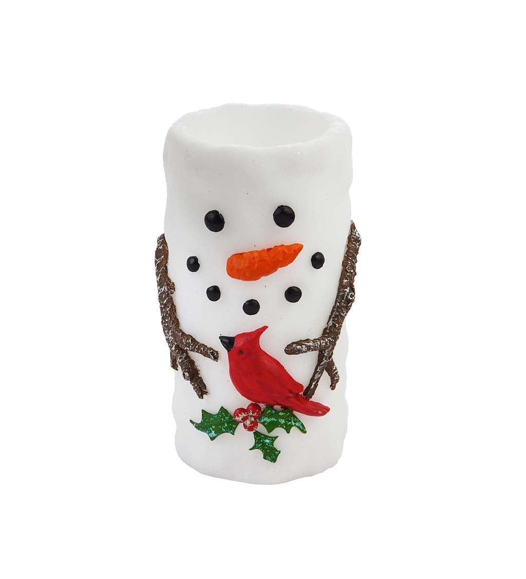LED Wax Pillar Candle, Snowman and Friend
