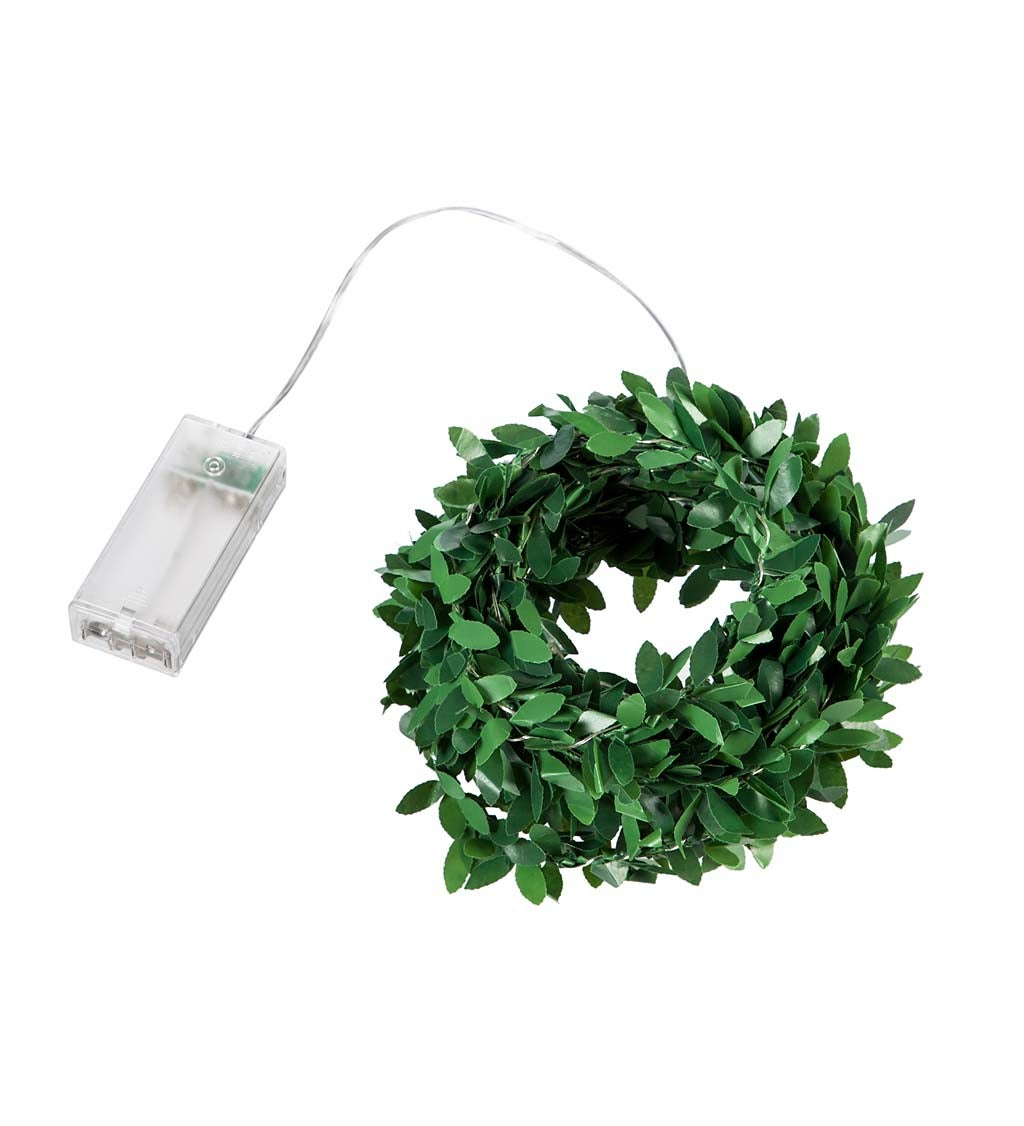 16' Green Leaf Rattan String Light with 50 LED Lights and Timer Function