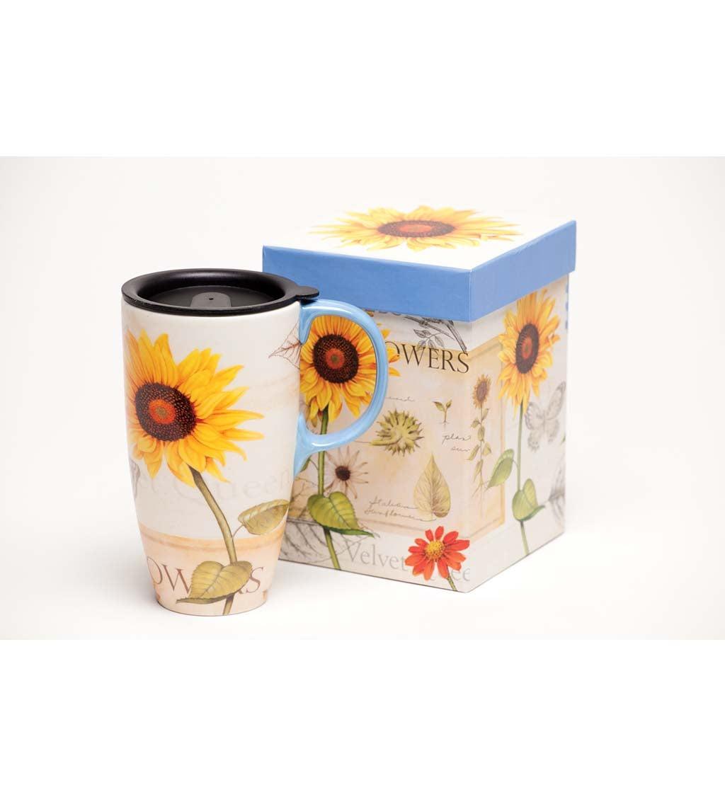 Yellow & Red Sunflowers Latte Travel Mug