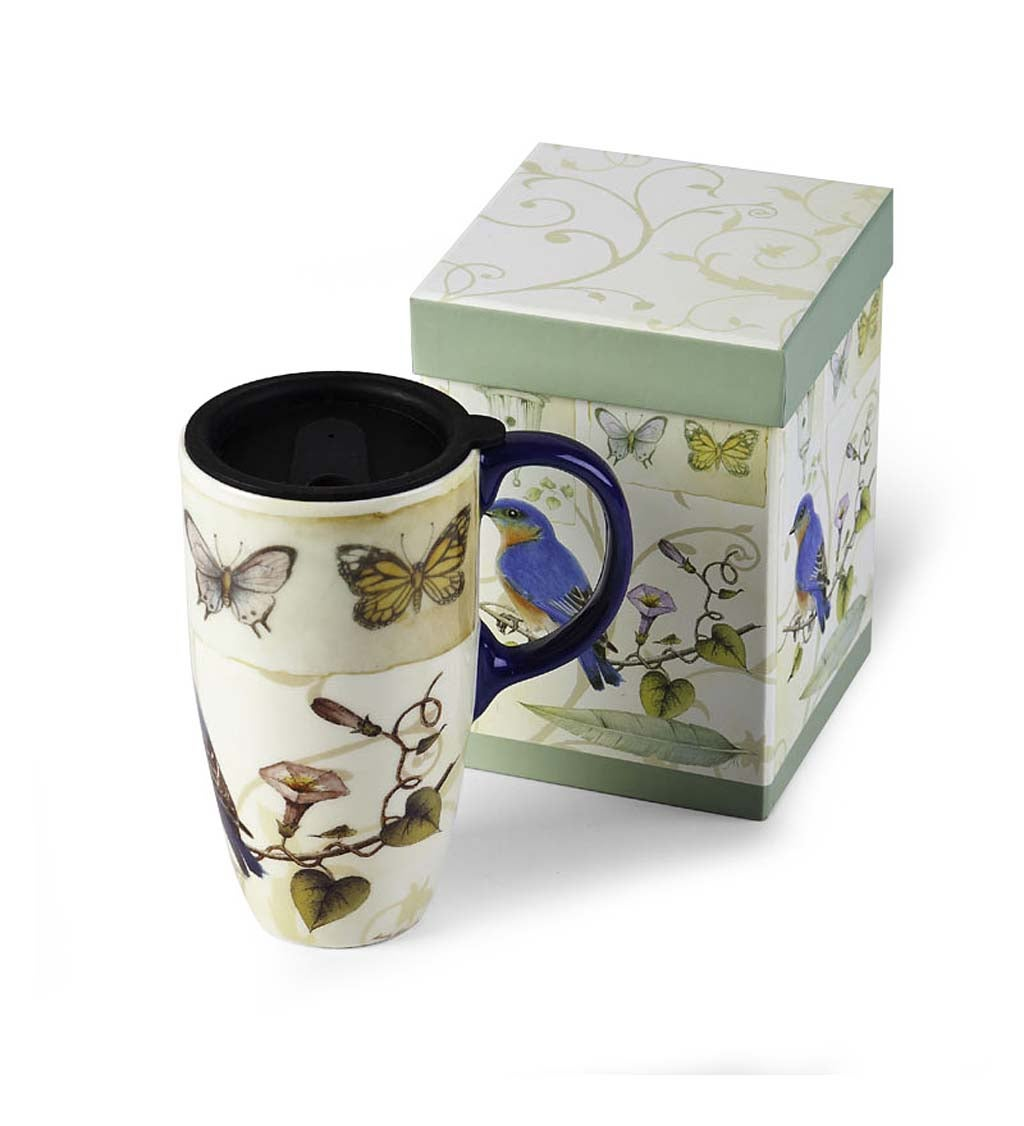 Blue Bird & Butterflies Latte Travel Mug