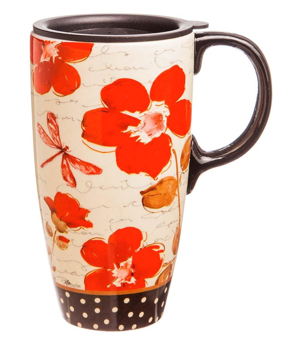 Red Poppy Flower Symphony Ceramic Travel Mug With Gift Box