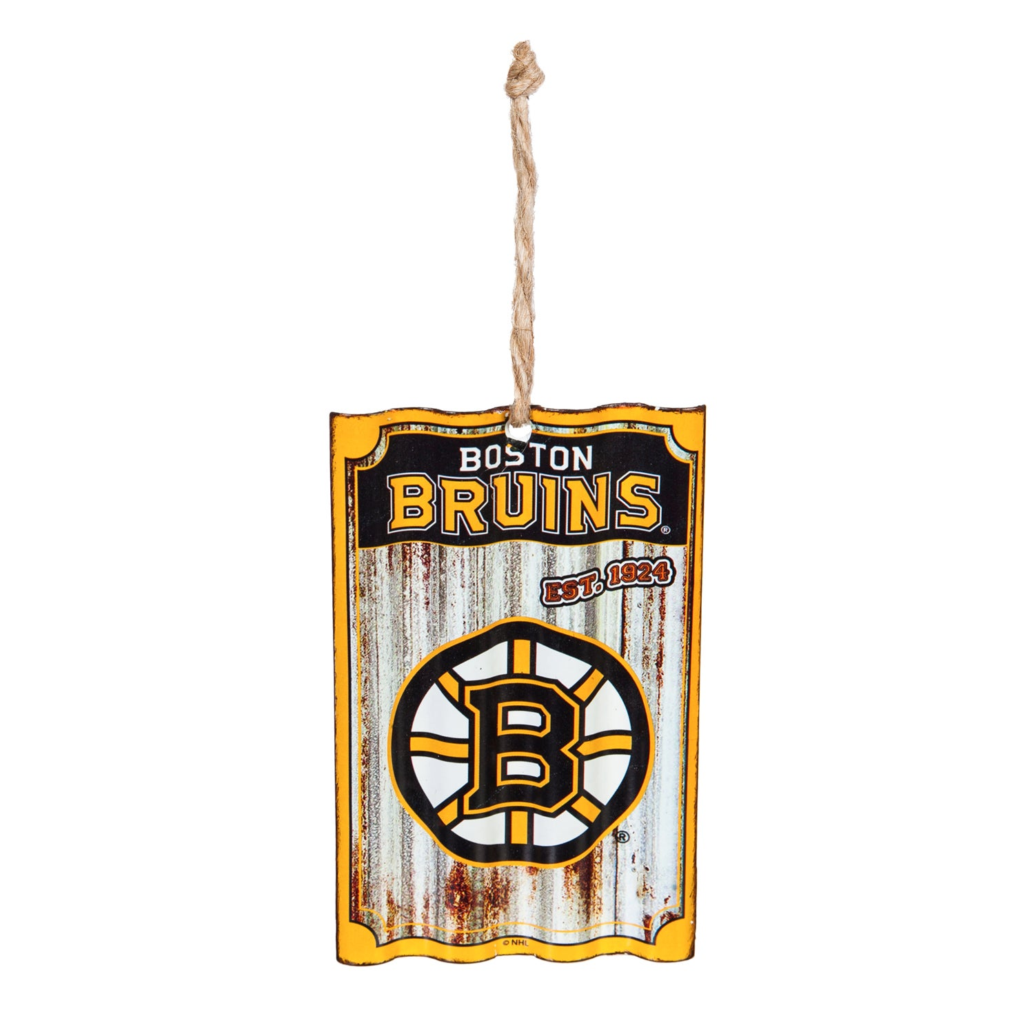 Boston Bruins Corrugated Metal Ornament