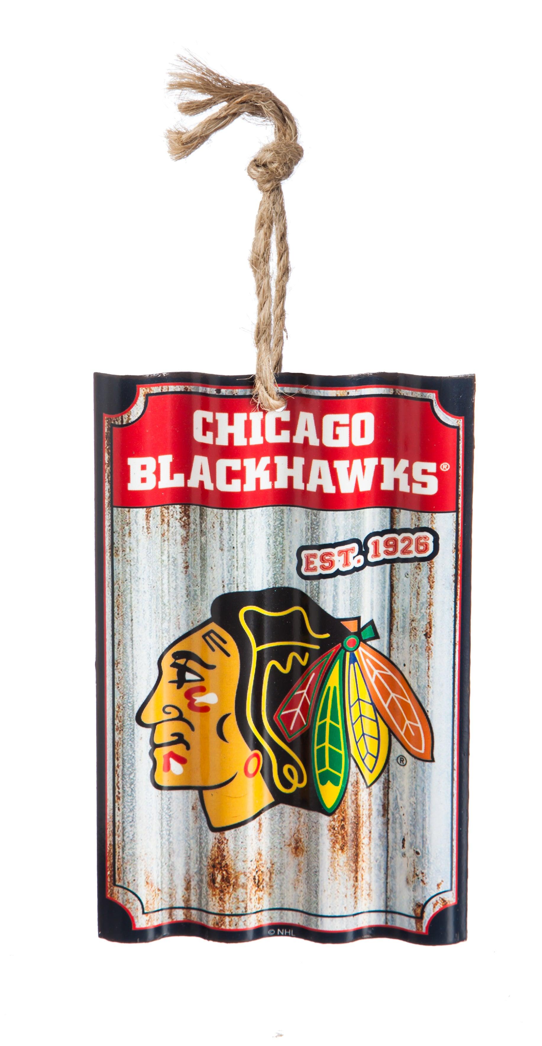 Chicago Blackhawks Corrugated Metal Ornament