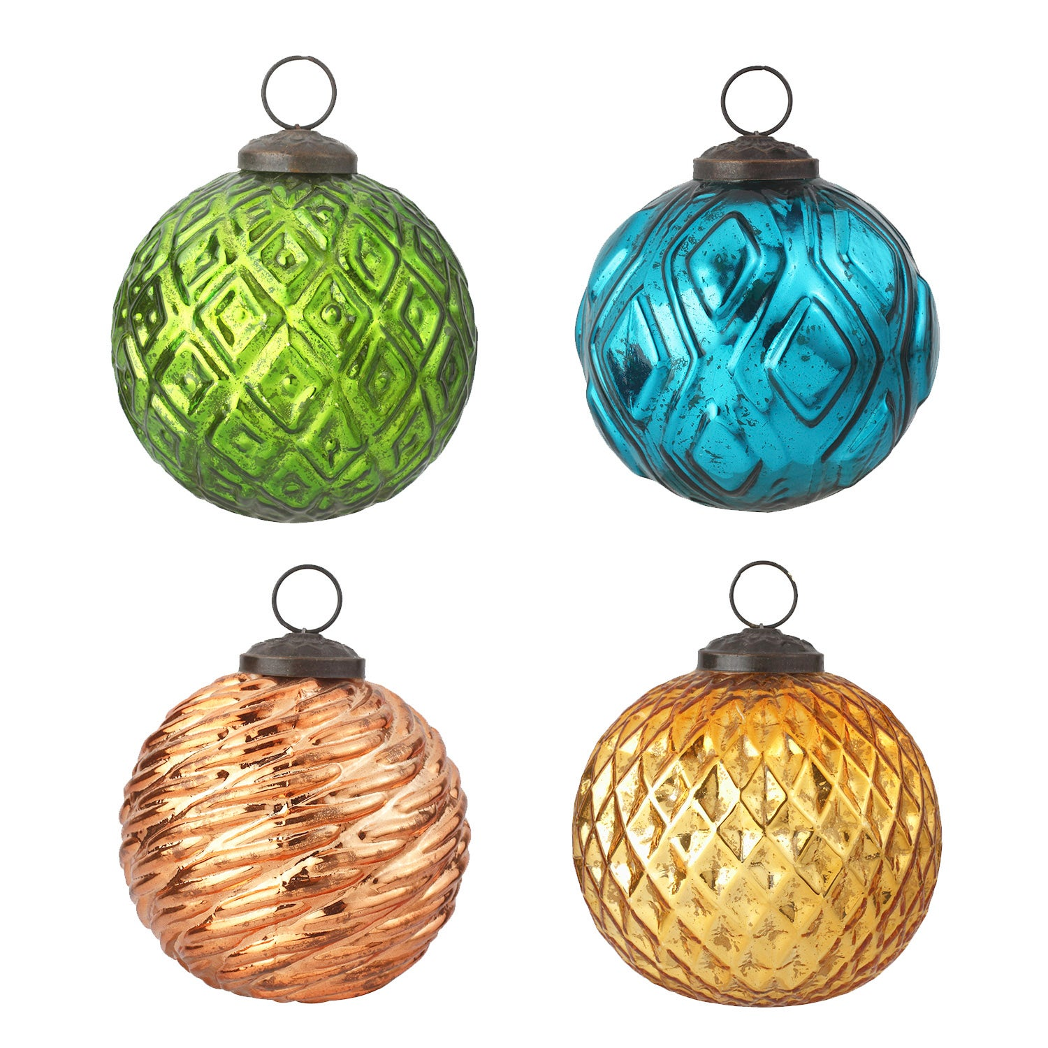 "4"" Holiday Rustic Round Ornaments, Set of 4"