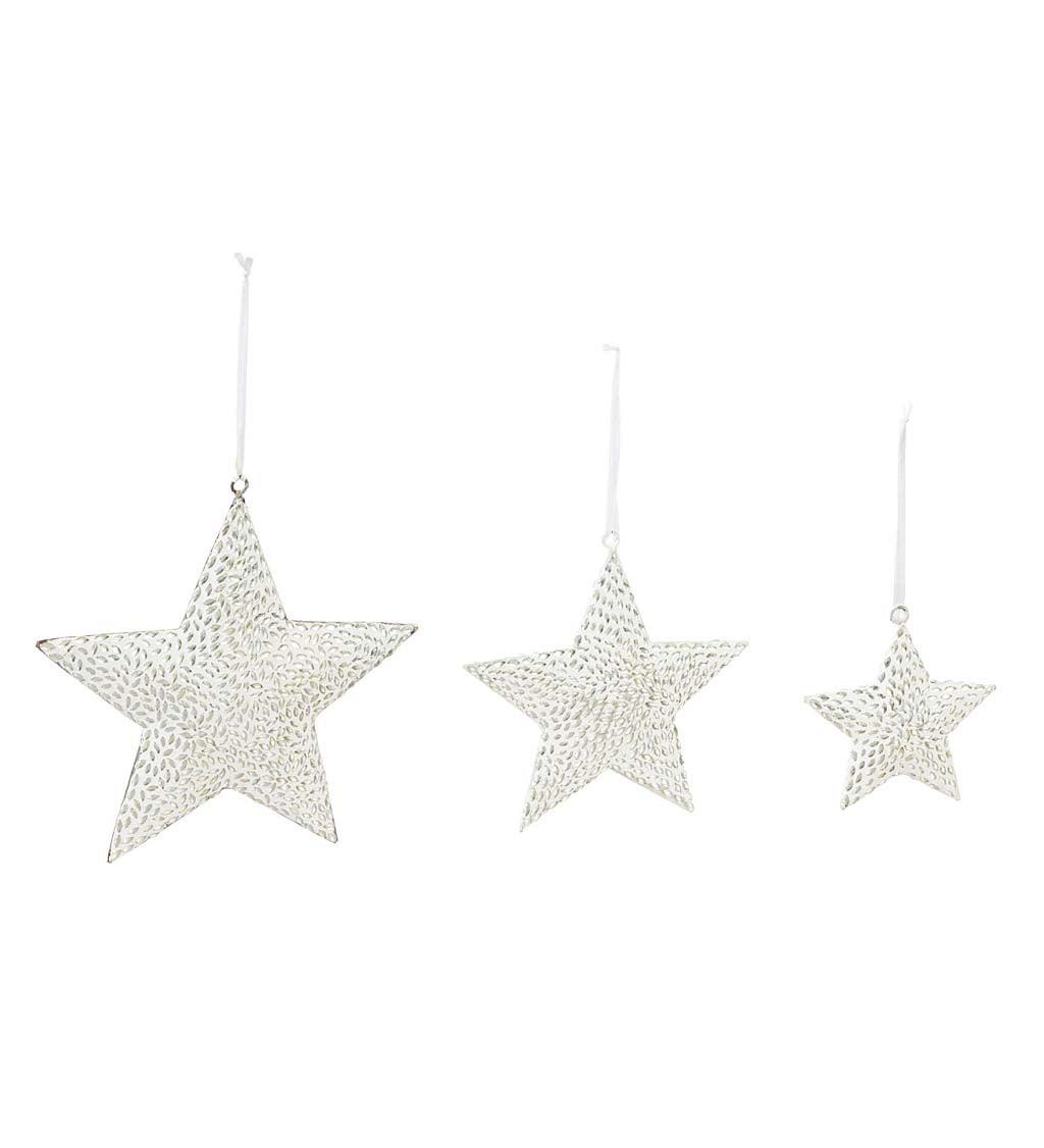 White Metal Star Ornaments Set of 3