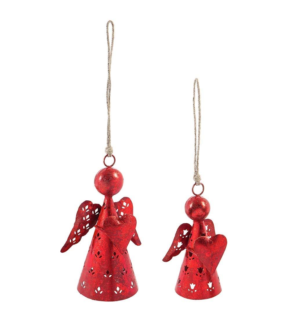 Red Metal Angel Ornaments Set of 2