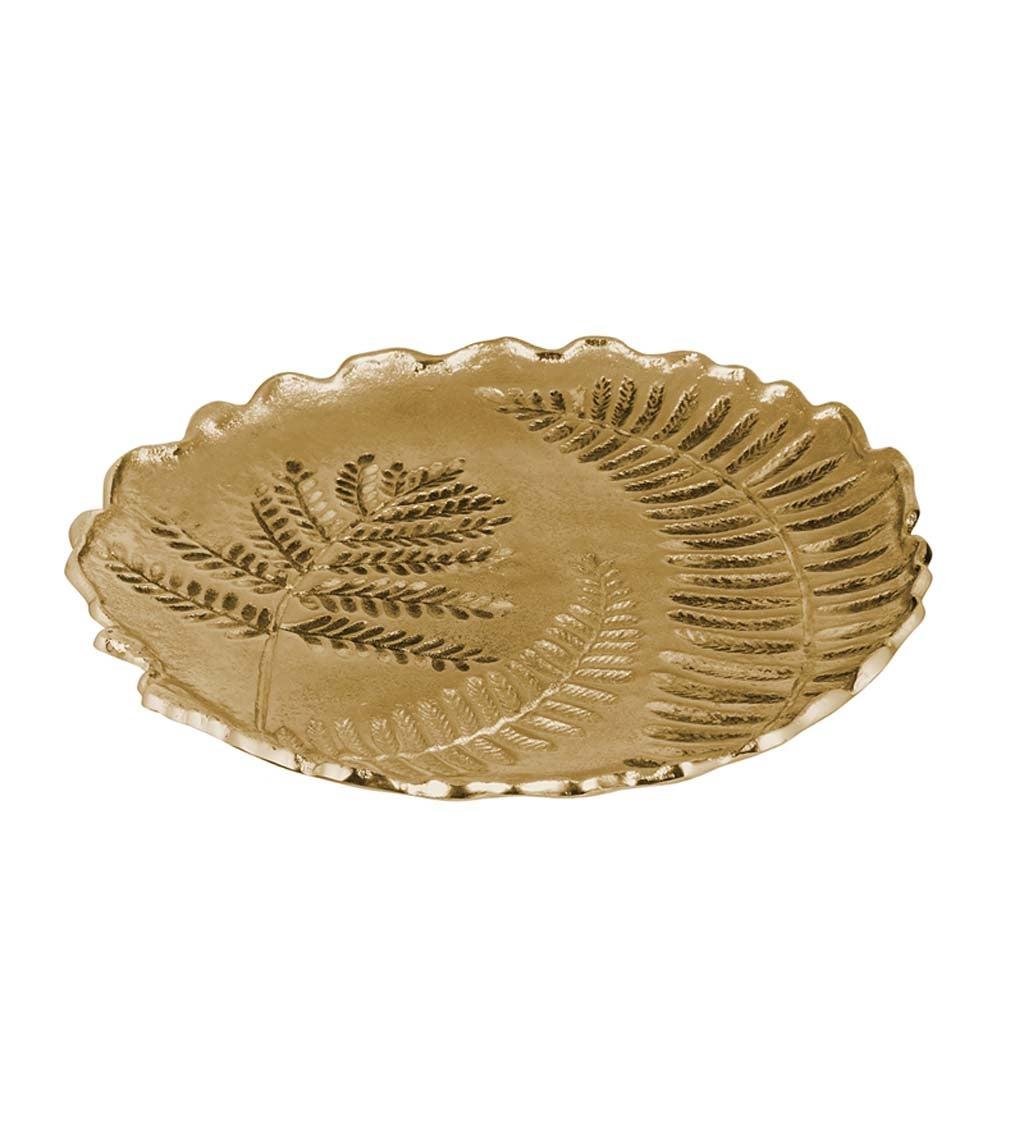 Round Metal Leaf Inlay Tray
