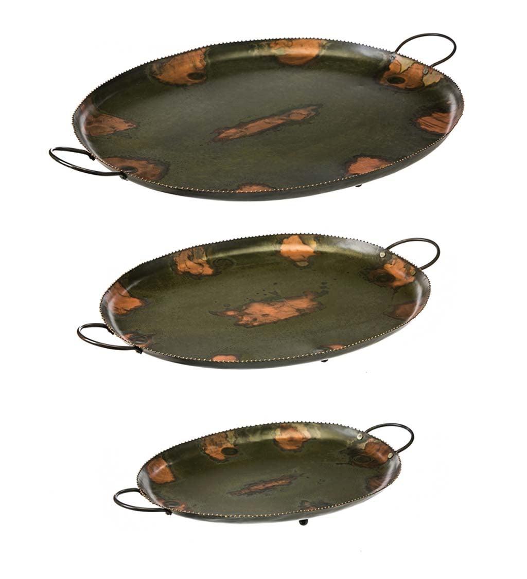 Oval Metal Trays, Set of 3