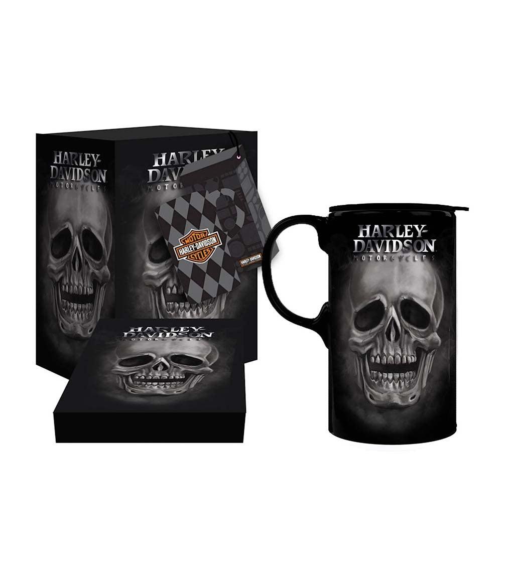 Harley Davidson Skull Tall Travel Coffee Mug, 20 ounces