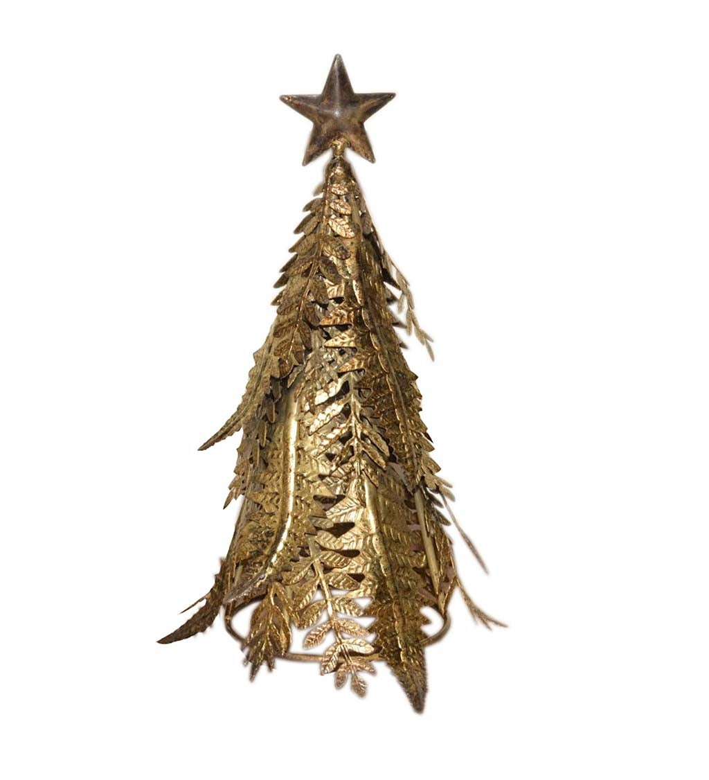 Gold Metal Holiday Fern Tree Table Décor