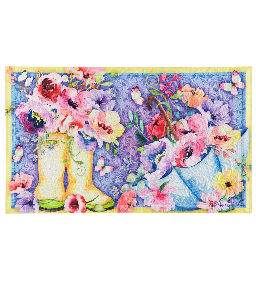 Floral Boots Embossed Floor Mat