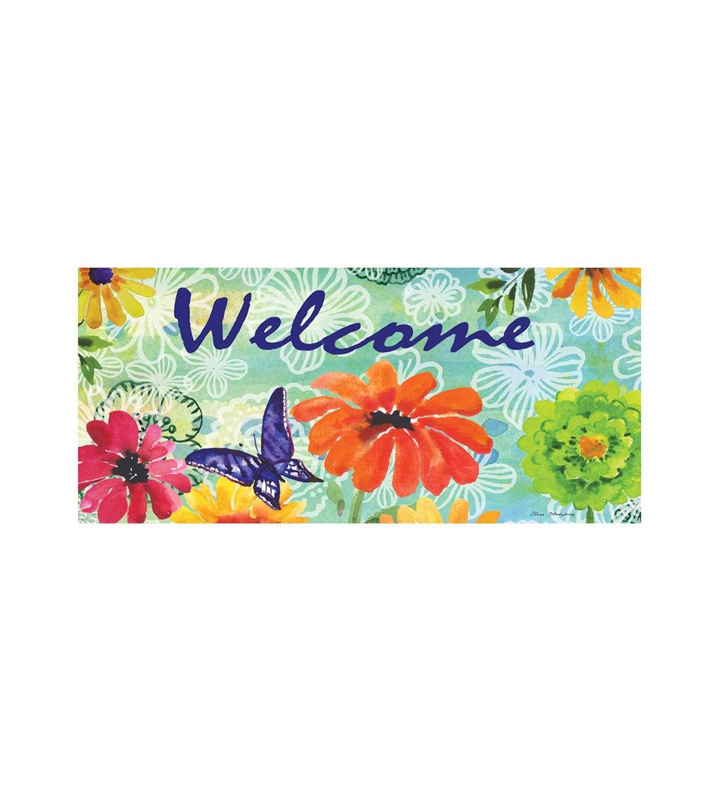 Bright Floral Welcome Sassafras Switch Mat
