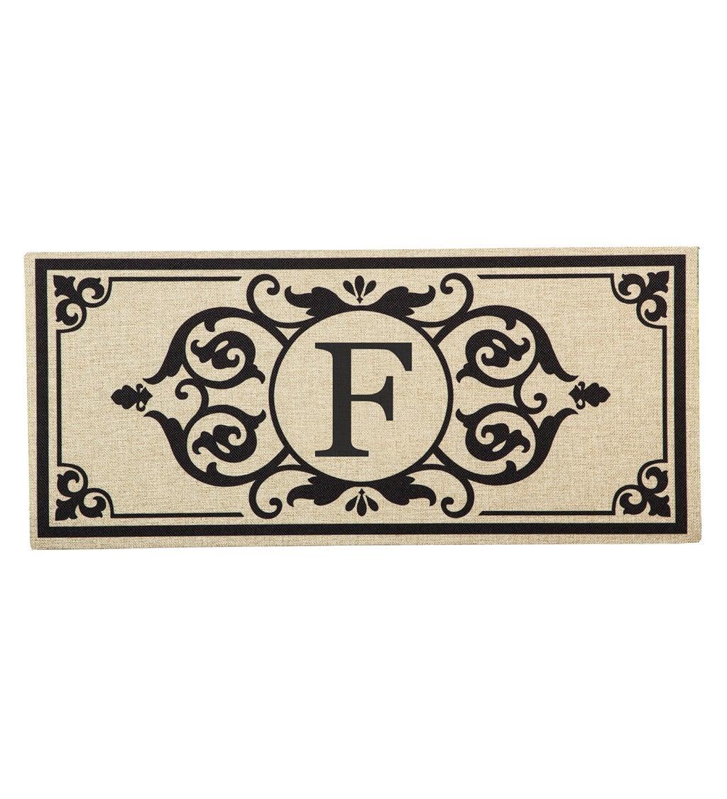 Cambridge Monogram Burlap Sassafras Switch Mat, Letter F